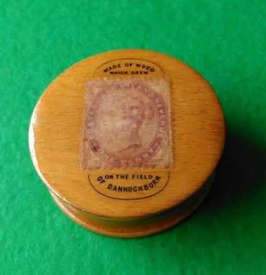 Mauchline Ware Stamp Box with Penny Red Stamp. Made Of Wood From Bannockburn.