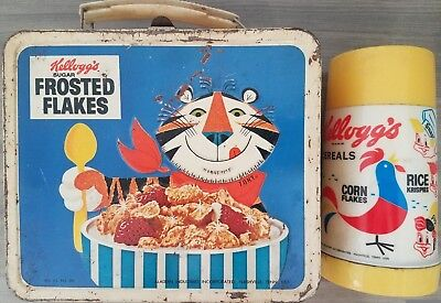 Vintage Kellogg's Cereals Lunchbox & Thermos Tony The Tiger+Frosted Flakes