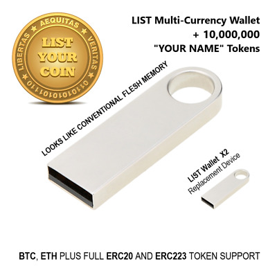 LIST Crypto Currency Double Layer Security Hardware Wallet SCH256, ERC20, ERC223