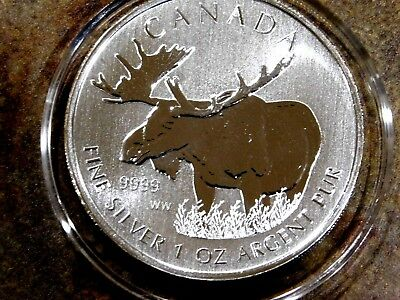 """2012 1 oz Canadian """"Moose"""" Wildlife Series .9999 Silver Coin, 4th In Series"""