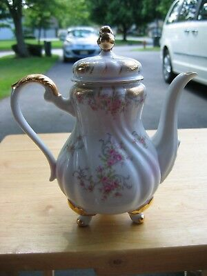 Vintage LEFTON CHINA Footed Hand Painted Floral Tea / Coffee Pot Gold Trim