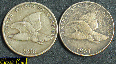 1857 and 1858 U.S. Flying Eagle Cents 1c  Copper Nickel Penny 2 Coins