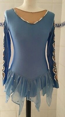 Teen Girls Ice Blue Silver Sequins Stars Drop Crystal Ice Skating Dress