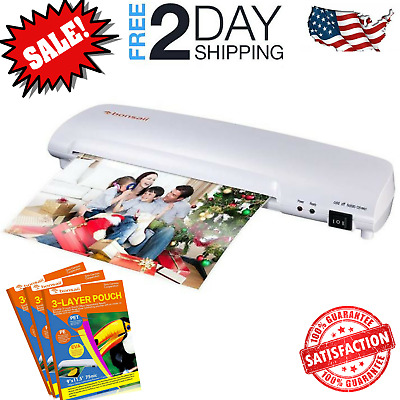 Thermal Laminating Machine Roller System Portable Hot Cold Fast Warms Up 3-5 Mil