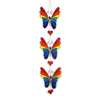 Stained Glass Effect Butterfly String Rainbow Suncatcher Mobile Chakra Gay Pride