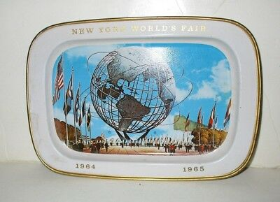 "VINTAGE 1964 NYWF NEW YORK WORLD'S FAIR METAL TIN TRAY UNISPHERE 5""x7.25"""