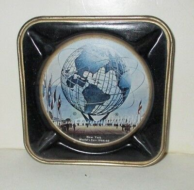 "Vintage 1964 1965 Nywf New York World's Fair 3.5"" Metal Tin Ashtray Unisphere"