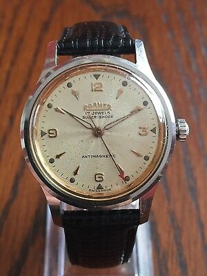 Gent's Vintage Roamer Watch Swiss Made c.1955 Wind-up 17 Jewels Serviced Working