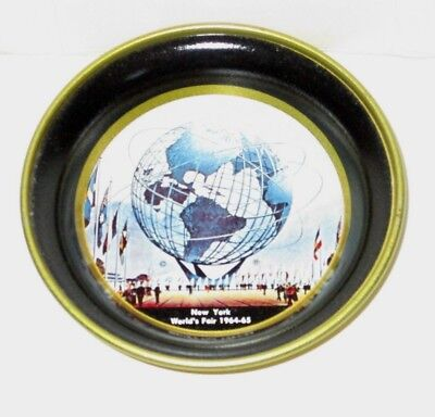 "Vintage 1964 1965 Nywf New York World's Fair 4"" Metal Coaster Tin Tray Unisphere"