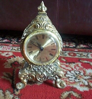 VINTAGE small Brass West German Mantle clock, spares or repairs