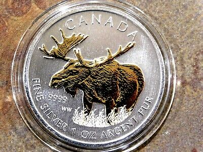 """2012 Guilded 1 oz Canadian """"Moose"""" Wildlife Series .9999 Silver"""