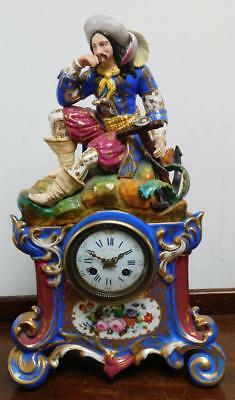 french porcelain striking mantel clock,retailed by henry bright for restore
