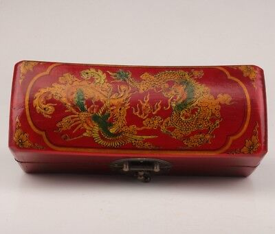 Red Leather Jewelry Box Old Dowry Dragon Phoenix Lady Decoration