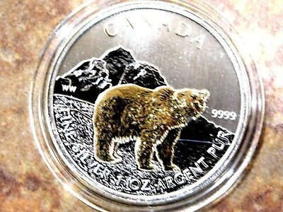 """2011 Guilded 1 oz Canadian """"Grizzle Bear"""" Wildlife Series .9999 Silver"""