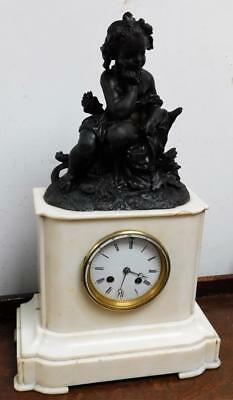 french figural white marble striking mantel clock for restore