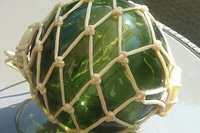 Vintage Hand Made Green Fishermans Glass Ball with Macrame Hanger