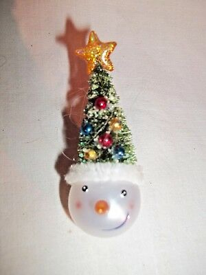 Vintage Snowman Pin With Christmas Tree Hat