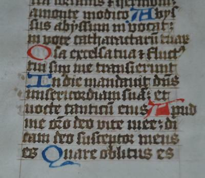 C. 1450, BOOK OF HOURS MANUSCRIPT LEAF ON VELLUM, Latin Gothic Text, Medieval