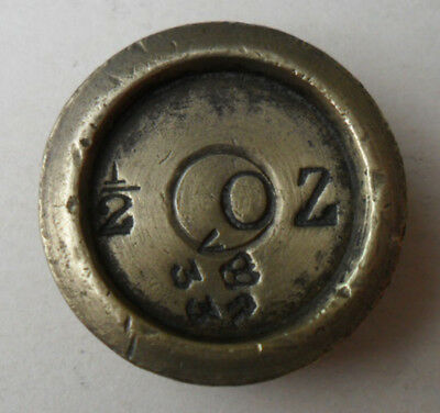 Antique Victorian Brass Weight - 1/2 oz Stafford County (2)
