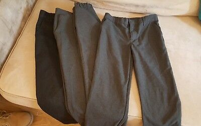 4 x Boys Grey School Trousers Age 7-8 good used condition