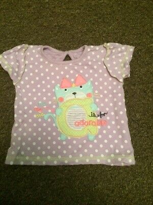 George Baby Girls T-shirt 6-9m Purple Spotty