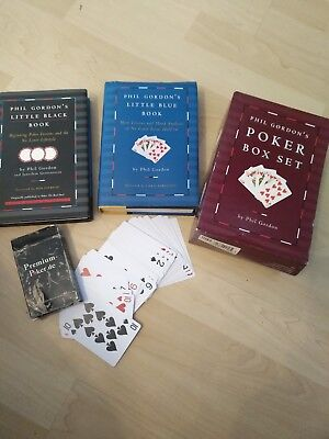 Premium Poker de 100% Plastik Cards Box Set  Phil Gordon Black Book Blue English