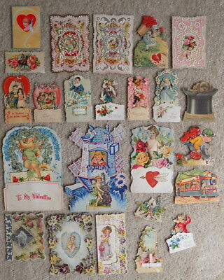Antique Victorian Valentines Day Card Lot W/ Die Cut Mechanical & Lace Neat Lot