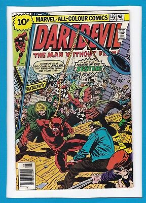 "Daredevil #136_August 1976_Vf Minus_Jester_""a Hanging For A Hero""_Bronze Age Uk!"