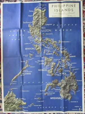 Phillipines Large Ww2 News Map 35 By 46 Inches 258Th Week Of War Southern France
