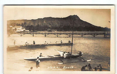 1920s Waikiki Classic w Outrigger Canoe Hawaii Real Photo Postcard Diamond Head