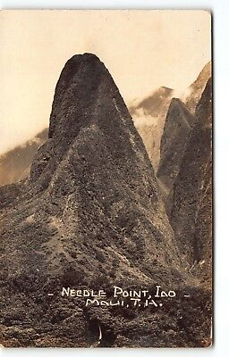 Historic I'AO Valley Island of MAUI Hawaii TH RPPC Postcard Needle at Wailuku