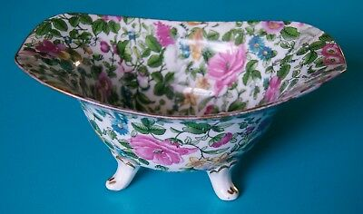 Crown Staffordshire Thousand Flowers Footed Bowl 1913 / 1914 Rare