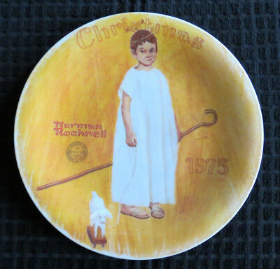 COA Norman Rockwell Plate 'Angel With a Black Eye' Christmas 1975 FREE SHIPPING!