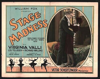 STAGE MADNESS Title Lobby Card (Good) 1927 Virginia Valli Movie Poster 15071