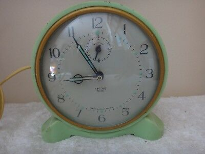 Vintage Green Smiths Sectric Clock Smiths English Clocks  Made in England Retro