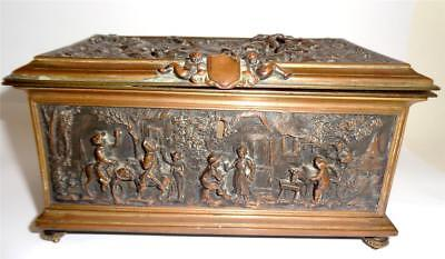 19thC FRENCH BRONZE FITTED JEWELLERY BOX SUPERB RELIEF PASTORAL SCENES c 1870