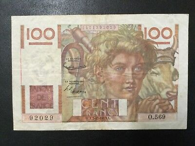 1954 France Paper Money - 100 Francs Banknote!