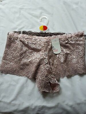 Lace Shorts Knickers Women's Underwear Pants 3 Pack Soft Lace Primark Size 14-16