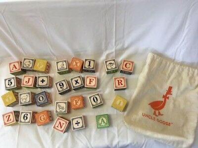 Uncle Goose Wooden Blocks in Canvas Bag, ABCs & 123s, Animals & Arithmetic EUC