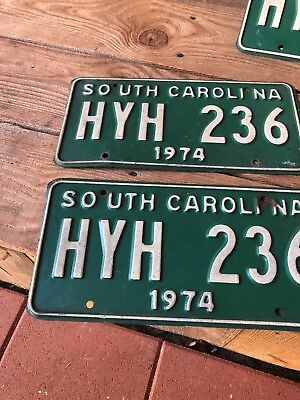 Pair Of 1974 South Carolina Auto Tags Collectable Hyh236