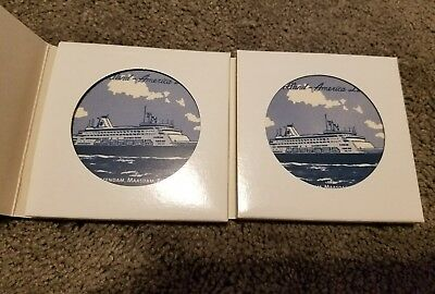 LOT OF TWO NEW Holland America Lines Blue ROYAL DELFTWARE Tile Coasters 4 Inch B