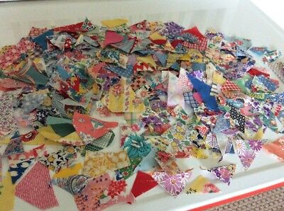 Misc VtG1930-40s Fabric Pcs from Quilter's Scrap Bag Teeny Tiny Triangles Scraps