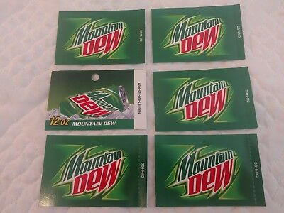 6 Mt. Dew 12oz Can Vending Labels Soda Machine