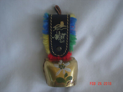 NICE Vtg. MALOJA SWITZERLAND SOUVENIR BRASS COW BELL ORNAMENT w/EDELWEISS FLOWER