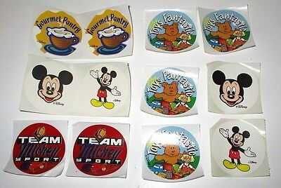 "Downtown Disney World Lot Of 12 2"" Round Stickers Team Mickey Gourmet Pantry"