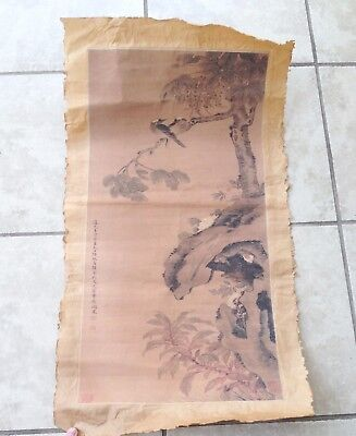 Chinese Painting On Silk With Birds & Calligraphy With Marks