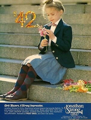1981 AD Jonathan Strong pretty little girl school uniform photo Vintage Print Ad