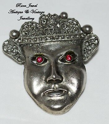 Vintage Jewellery Art Deco Brooch Original Striking Mask Design