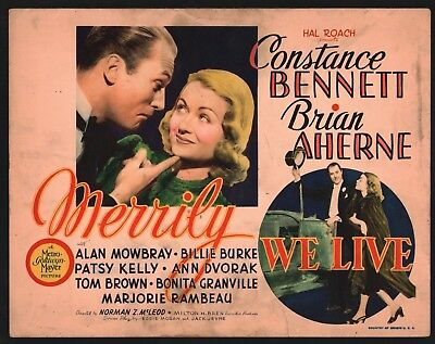 MERRILY WE LIVE Title Lobby Card (Good+)'38 Constance Bennett Movie Poster 15583