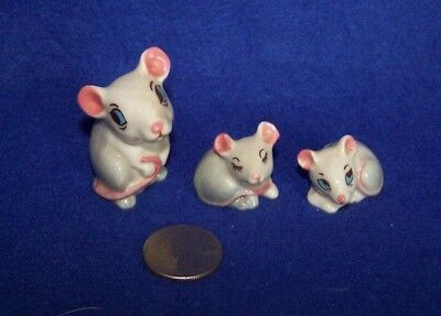 Wade Whimsies Mouse Family Lot of 3 England